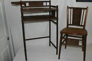 Antique Haywood Wakefield Wicker Rattan Ladyand039s Childs Writing Desk Chair Set