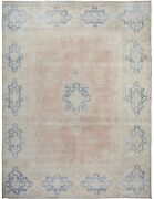 Vintage Muted Pale Rust Kirman Area Rug Distressed Evenly Worn Hand-made 10x13