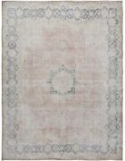 Antique Floral Muted Kirman Distressed Area Rug Evenly Low Pile Handmade 10x13