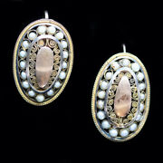Antique Georgian Earrings 18k Gold Pearls Cannetille French Napoleon I 5619