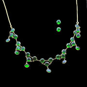 Necklace Earrings Set Gold Natural Diopside Fab Green Gem Modern Jewelry 5587