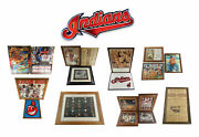 Lot Of 18 Cleveland Indians Framed Pieces Photos Posters Newspapers And More ++