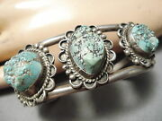 Amazing Vintage Green Lone Mountain Turquoise Sterling Silver Bracelet Old