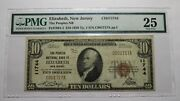 10 1929 Elizabeth New Jersey Nj National Currency Bank Note Bill Ch. 11744 Vf