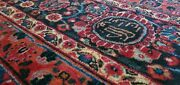 Vintage Hand Knotted Wool Oriental Rug 10.8 X 14 Medalion Red Floral