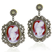 18k Gold Silver Cameo Natural Pearl Pave Diamond Dangle Earrings Women Jewelry