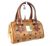 Authentic Mcm Cognac Canvas Brown Leather Small Boston Hand Bag Purse Germany