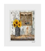 Farmhouse Kitchen Dinning Room Sunflowers Rooster Wall Art Home Decor Picture