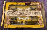 Ajax Davy Crockett Western Rodeo Cowboys And Indians Playset C. 1950's