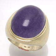 14k Solid Yellow Gold 20x 25mm Cabochon Lavender Jade Menandrsquos Ring 16 Grams Tpj