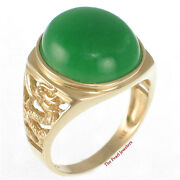 14k Solid Yellow Gold Dragon Design Cabochons Cut Oval Green Jade Ring Tpj