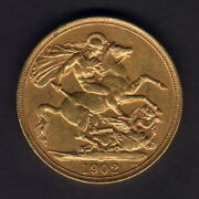 Great Britain. 1902 Edward Vii - Gold Two Pounds.. Gvf/ef - Part Lustre