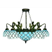 Blue Stained Glass Chandelier Light Vintage Iron Mermaid Ceiling Lamp