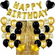 Black And Gold Birthday Party Decorations Set With Happy Birthday Balloons Banner