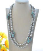 P7413 48 Gray Round Freshwater Pearl Turquoise Shuttle Cz Necklace