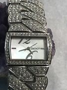 Dkny Crystal Collection Mother Of Pearl Dial Women Watch Ny4273 - Needs Battery