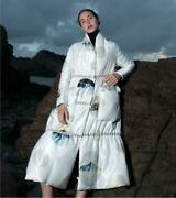 Occident Womens Thicken Printed Loose 90 White Duck Down Full Length Overcoat