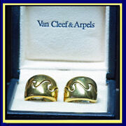 Earrings Ear Clips Gold French Signed Vca Vintage Hoops 5884