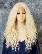 Light Blonde Long Body Wavy Heat Ok Lace Front/top Human Hair Blend Wig Evff 613