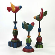 Midwest Of Cannon Falls Birds On Finials 12.5 Figurine Set 3pc Carved Wood