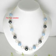 14k Gold Filled Aquamarine And Black Tahitian Pearl Handcrafted Fancy Necklace Tpj