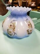 Nos Vintage Hand Painted Flowers Lamp Shade Globe Hurricane Gwtw Gone Blue 7