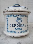 Amazing Eroina Pharmacy Jar Antique Apothecary And Pharmaceutical Container With L