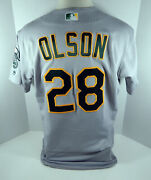 2019 Oakland Aand039s Athletics Matt Olson 28 Game Issued Grey Jersey 150 And Ps P