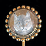 Antique Victorian Essex Crystal Stick Pin Cat Reverse Carved 14k Gold 5993
