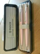 Parker Classic Set Pink And Silver Ballpoint Pen And 0.5 Pencil Tea Rose New In Box