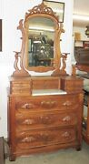 Large Antique Victorian Walnut And Marble Dresser W/ Tilting Mirror And 9 Drawers