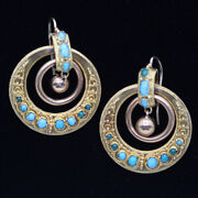 Antique Classic Revival Earrings Gold Turquoise Hoops Victorian Italian 6240