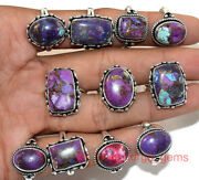 New 100 Pcs Lot Natural Purple Copper Turquoise Gemstone 925 Silver Plated Rings