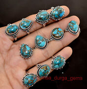 New 100 Pcs Lot Natural Blue Copper Turquoise Gemstone 925 Silver Plated Rings