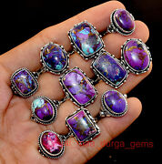 New 50 Pcs Lot Natural Purple Copper Turquoise Gemstone 925 Silver Plated Rings