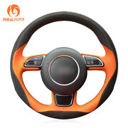 Orange Leather Black Suede Car Steering Wheel Cover Wrap For Audi A1 A3 A5 A7 B1