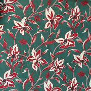 Vintage Fabric Red White And Green Floral 1920s Christmas Project Cotton 54x47 In