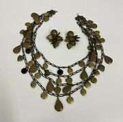 Vintage Bronze Tone Metal Heart Locket Necklace 4 Strands And Earrings Amazing
