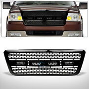Fits 04-08 Ford F150 Glossy Black Rp Style Square Mesh Front Bumper Grill Grille