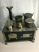 Antique Tinplate Alcohol Burning Stove, Circa 1900, Black With Silver