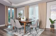 7 Pc Mid Century Modern Grey Wood Dining Table Chairs Diningroom Furniture Set