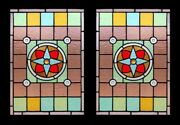 Spectacular English Rondels Pair Antique Victorian Stained Glass Windows