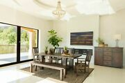 Rustic Vintage Java Wood Dining Table Chairs Bench Dining Room Furniture Set