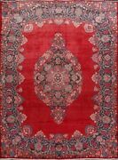 Excellent Red Floral Medallion Kirman Large Rug Hand-knotted Living Room 10x14