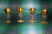 3 Only Old Antique Art Glass Rare Gold Cut Crystal Star Base Otto Mosher Cordial
