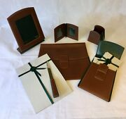 Vintage Leather Hunting Motif 6 Pc Collectible Desk Set Never Used