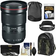 Canon Ef 16-35mm F/2.8l Iii Usm Zoom Lens With 3 Uv/cpl/nd8 Filters + Backpack