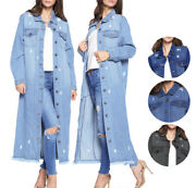 Womenand039s Oversize Long Button Up Distressed Cotton Denim Classic Jean Jacket