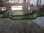 Handmade Glass Serving Dish. Dark Green With Design. Sushi Or Appetizers