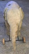 Steiff Large Elephant On Wheels With Lacquered Button Mid Century Approx 15